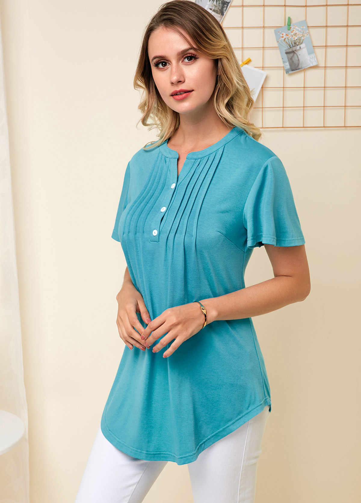 Split Neck Crinkle Chest Asymmetric Hem Soft Blouse