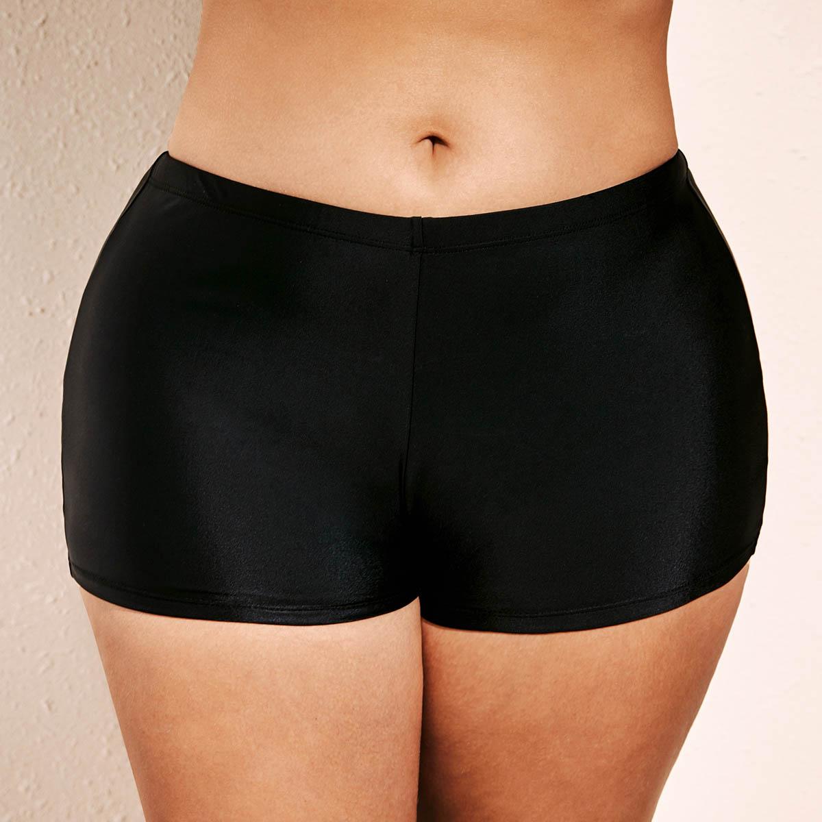 Black Plus Size Mid Waist Swimwear Shorts