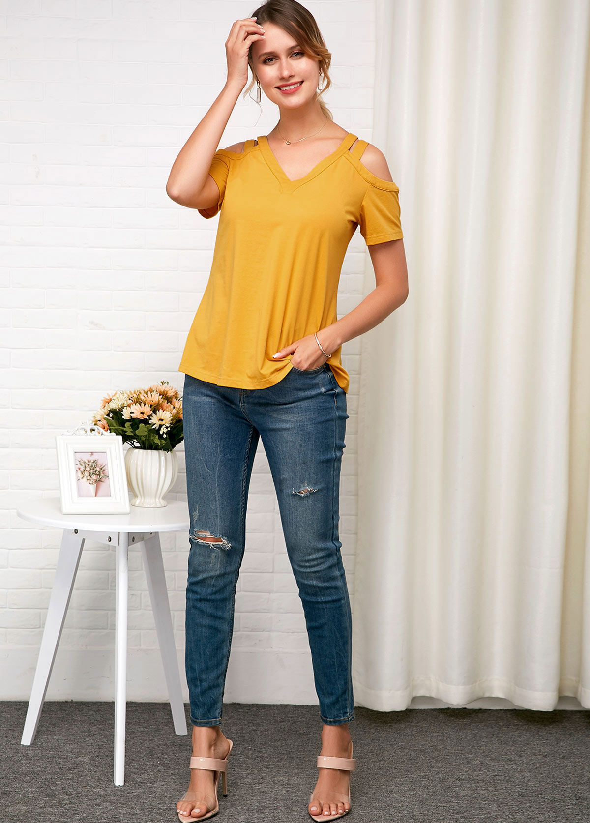 Short Sleeve Cold Shoulder Yellow Soft T Shirt
