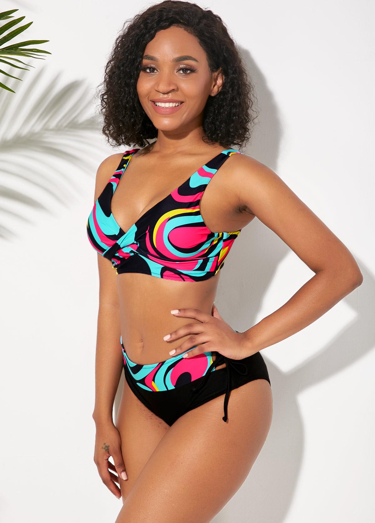 Tie Back Wide Strap Printed Multi Color Bikini Set
