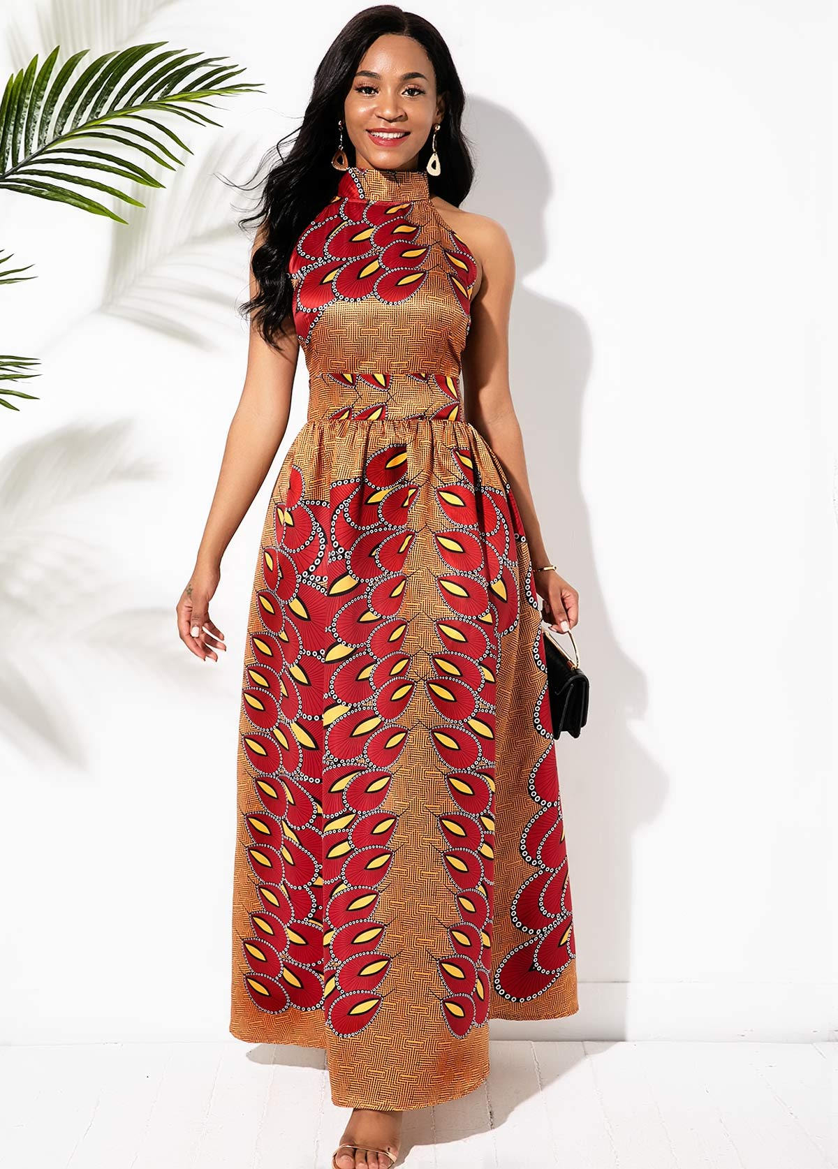 Bib Neck Bohemian Print Bowknot Back Maxi Dress