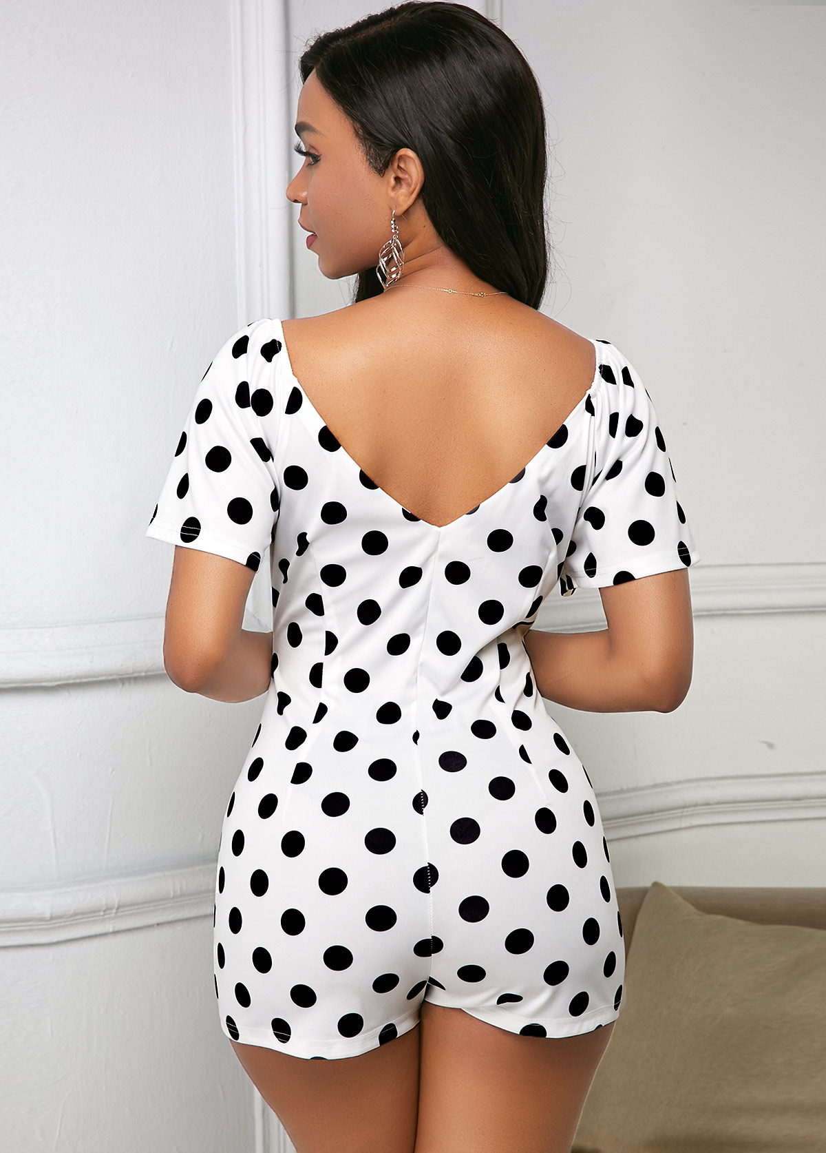 V Back Polka Dot Short Sleeve Romper