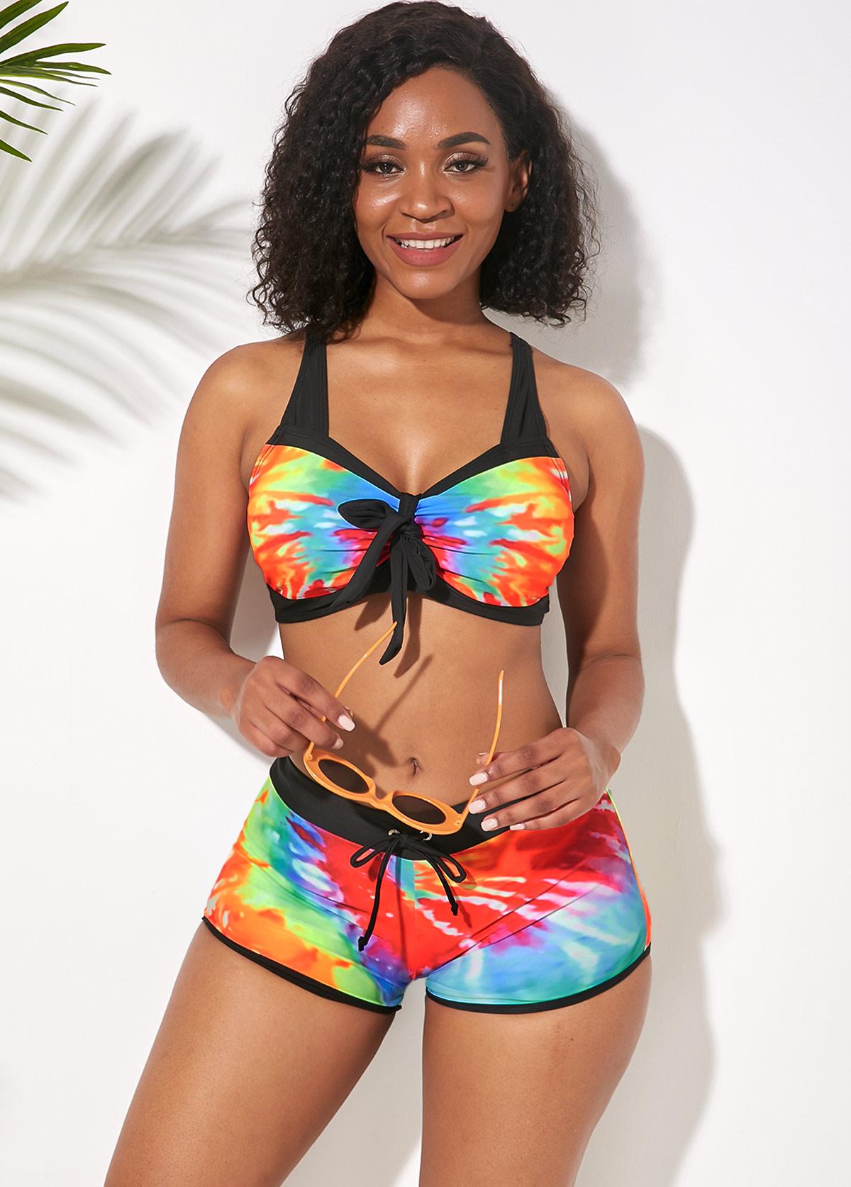 Multi Color Elastic Waist Wide Strap Bikini Set