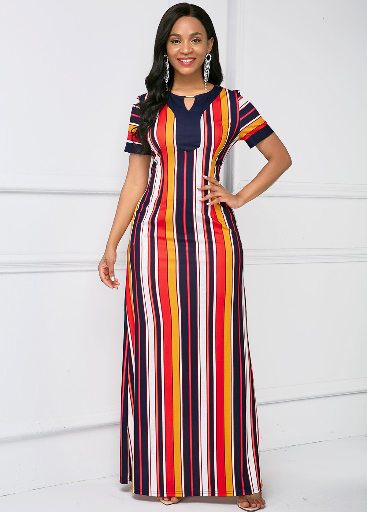 Keyhole Neckline Stripe Print Short Sleeve Maxi Dress