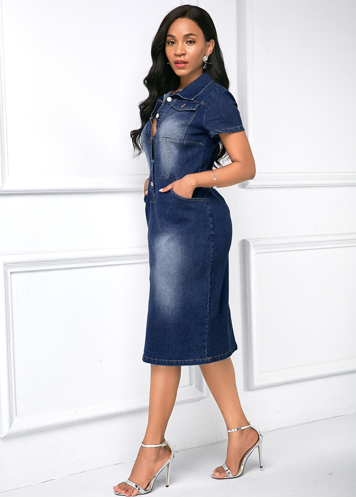 Turndown Collar Button Up Side Pocket Denim Dress