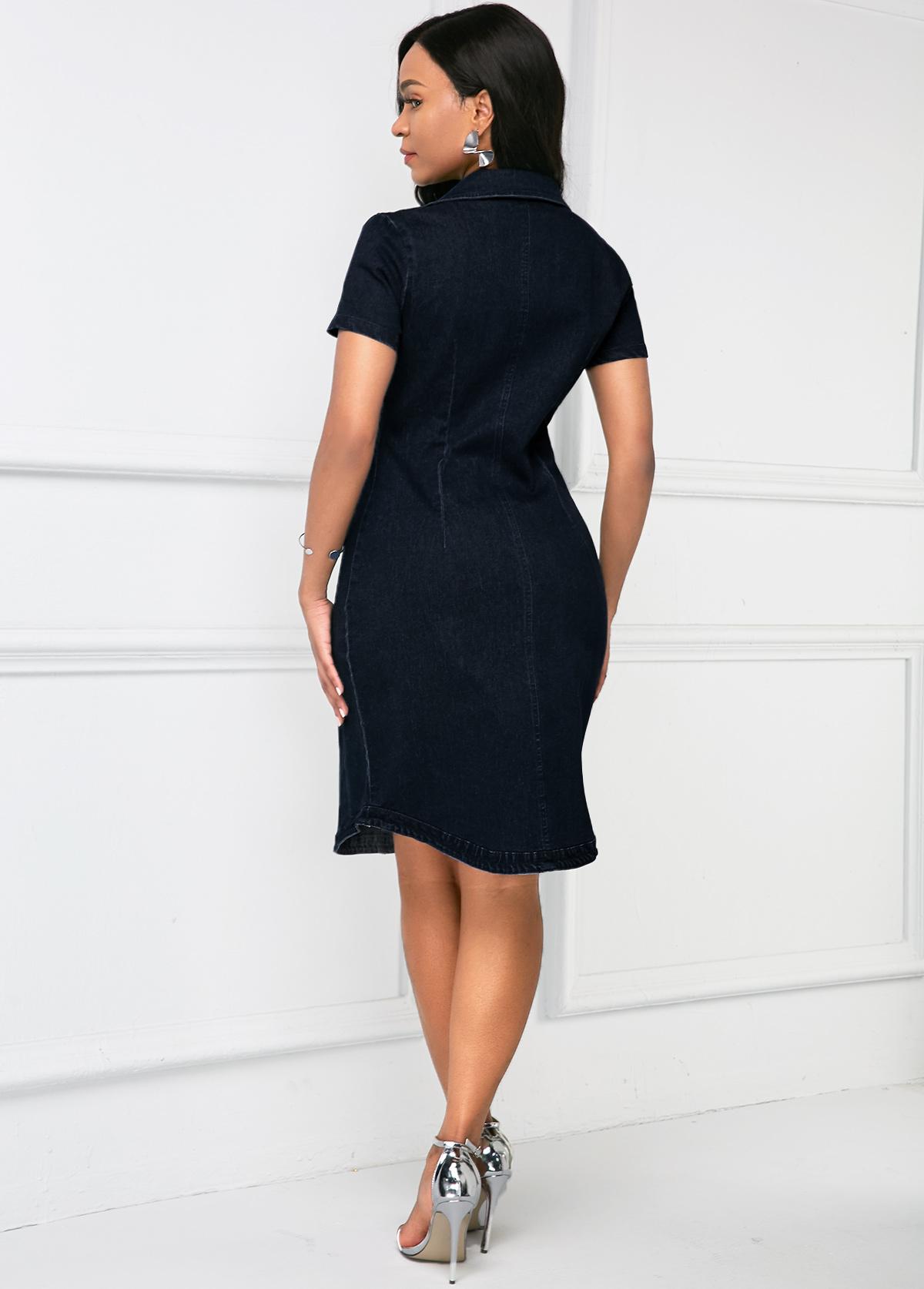 Denim Button Up Chest Pocket Dress
