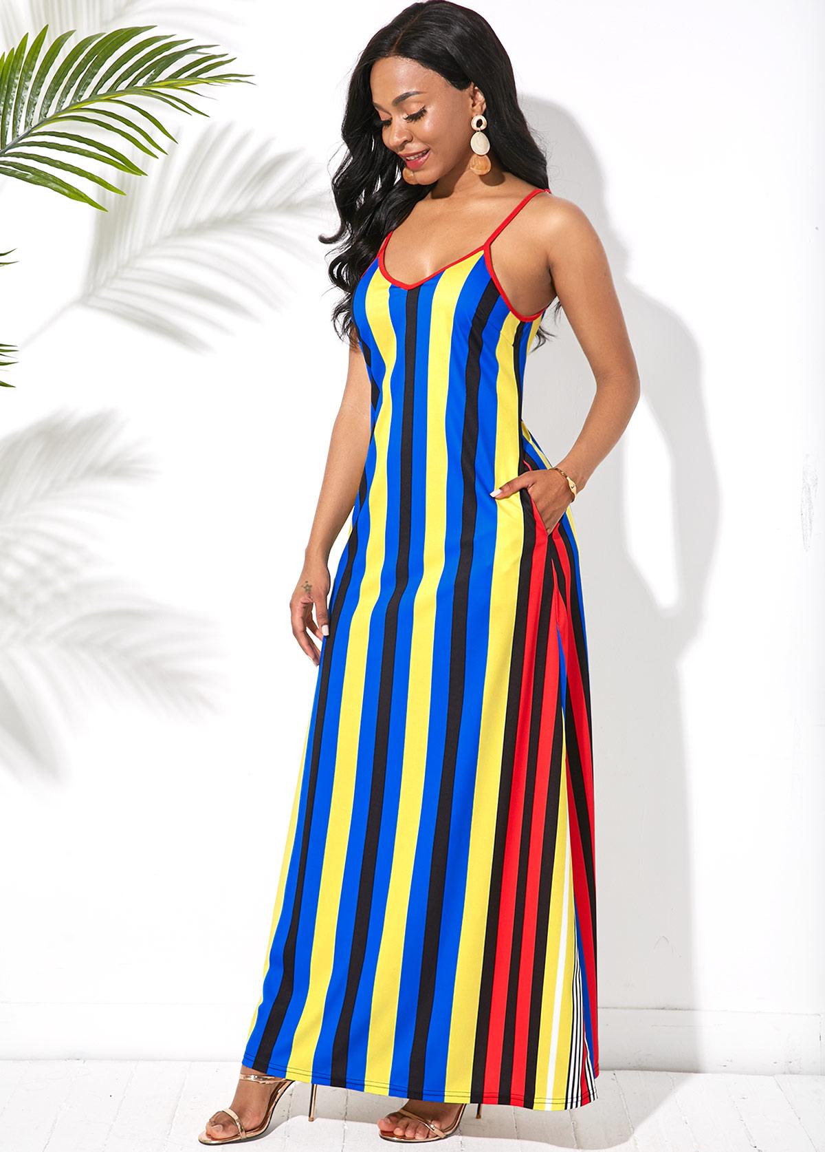 Spaghetti Strap Side Pocket Multi Stripe Maxi Dress