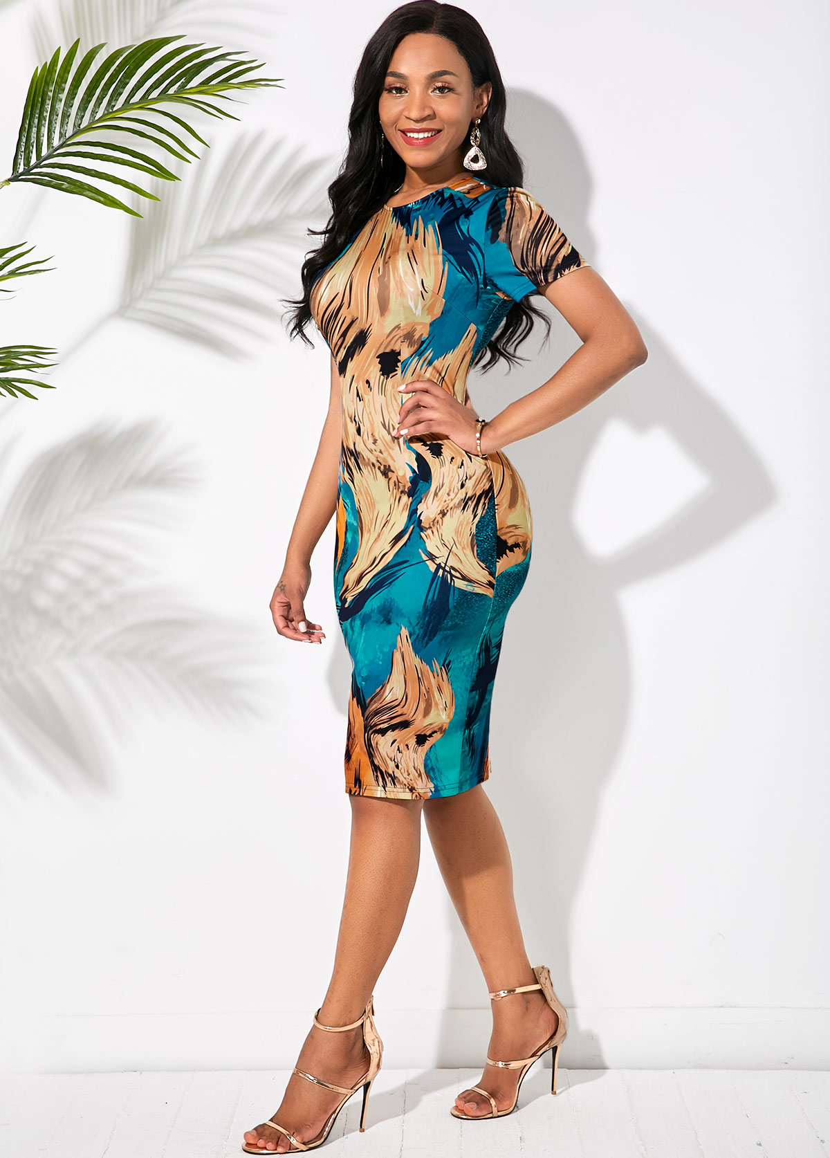 Short Sleeve Abstract Print Round Neck Dress