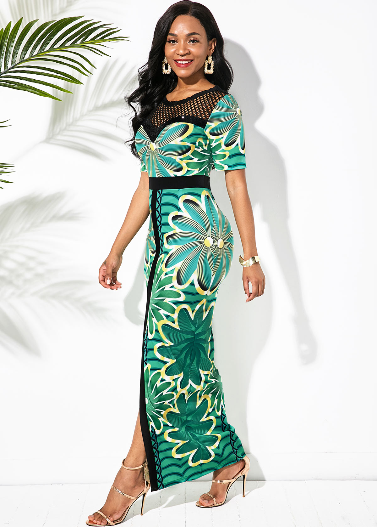 Printed Mesh Panel Front Slit Maxi Dress