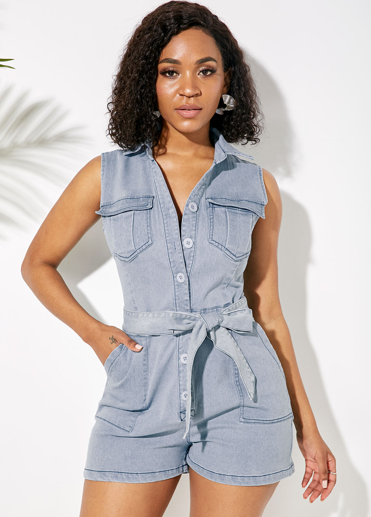 Button Up Slant Pocket Belted Denim Romper