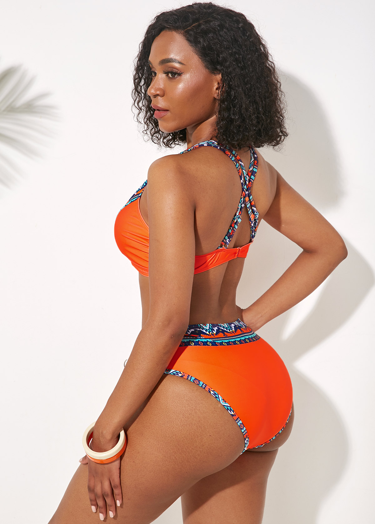 Cross Strap Tribal Print Orange Bikini Set