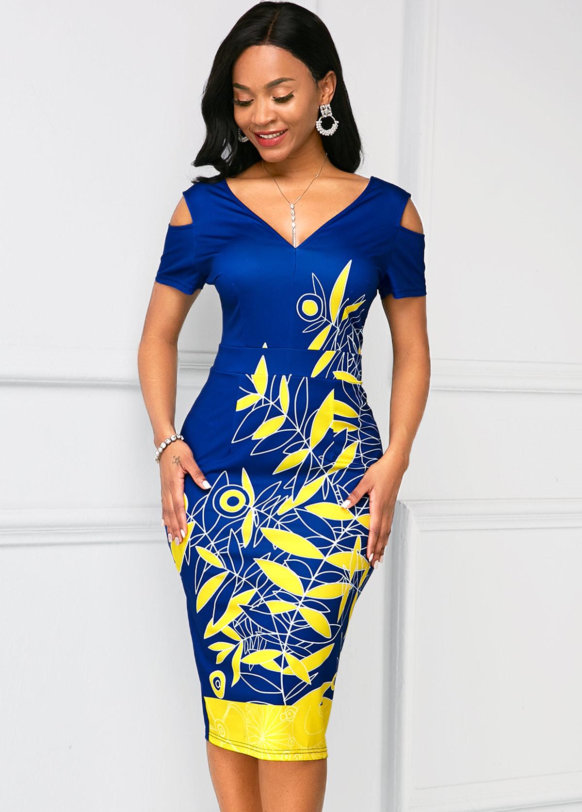 Cold Shoulder V Neck Printed Dress