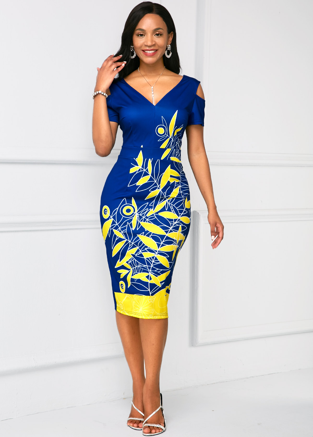 Cold Shoulder V Neck Printed Dress