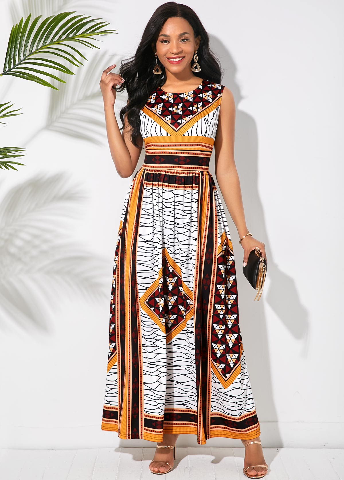 Sleeveless Tribal Print Round Neck Maxi Dress