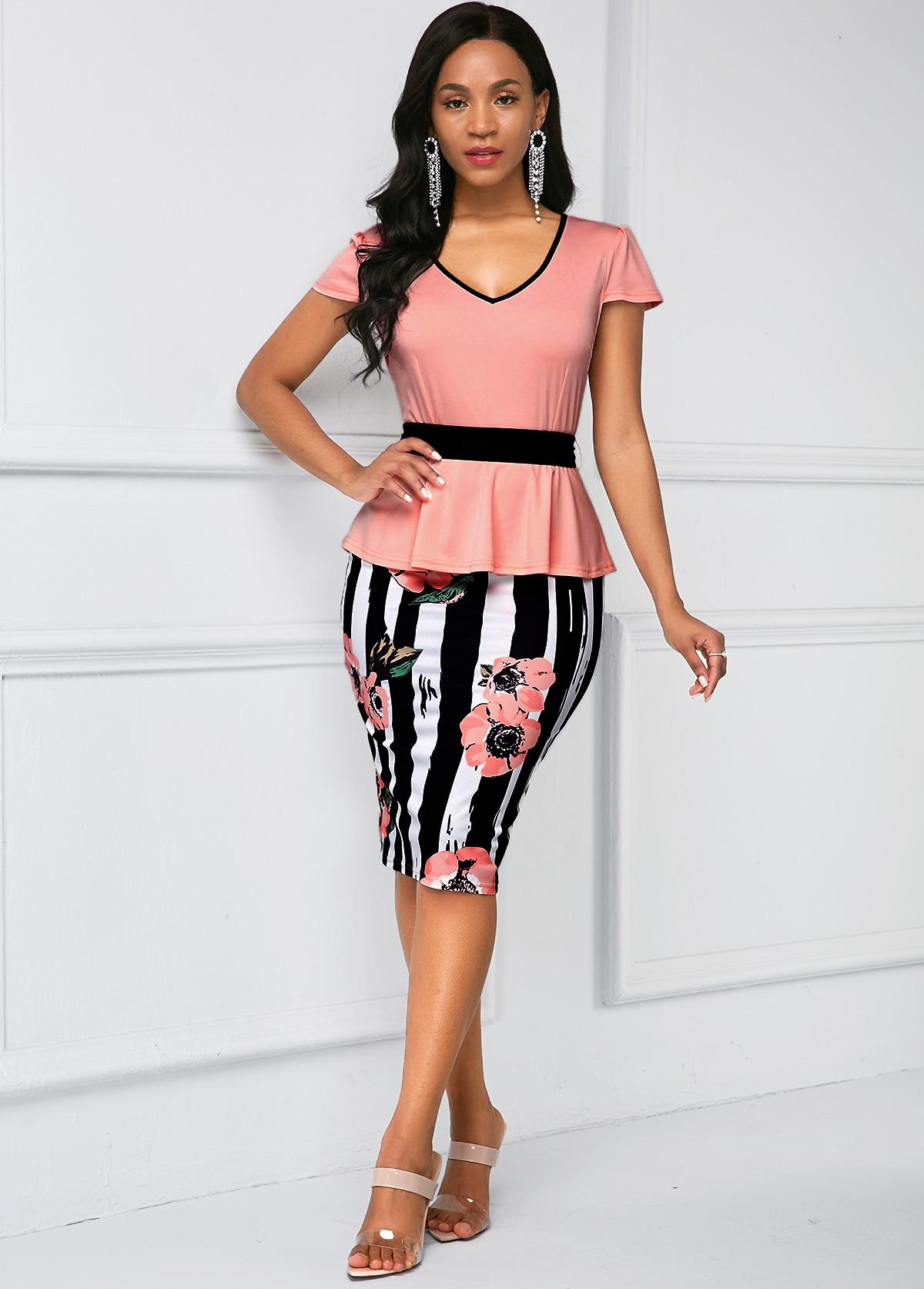 Cap Sleeve Stripe Print Belted Dress