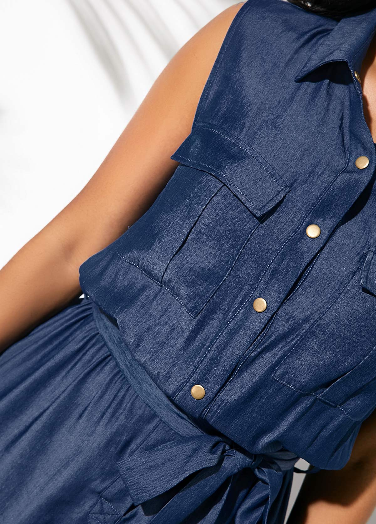 Faux Denim Belted Button Up Romper