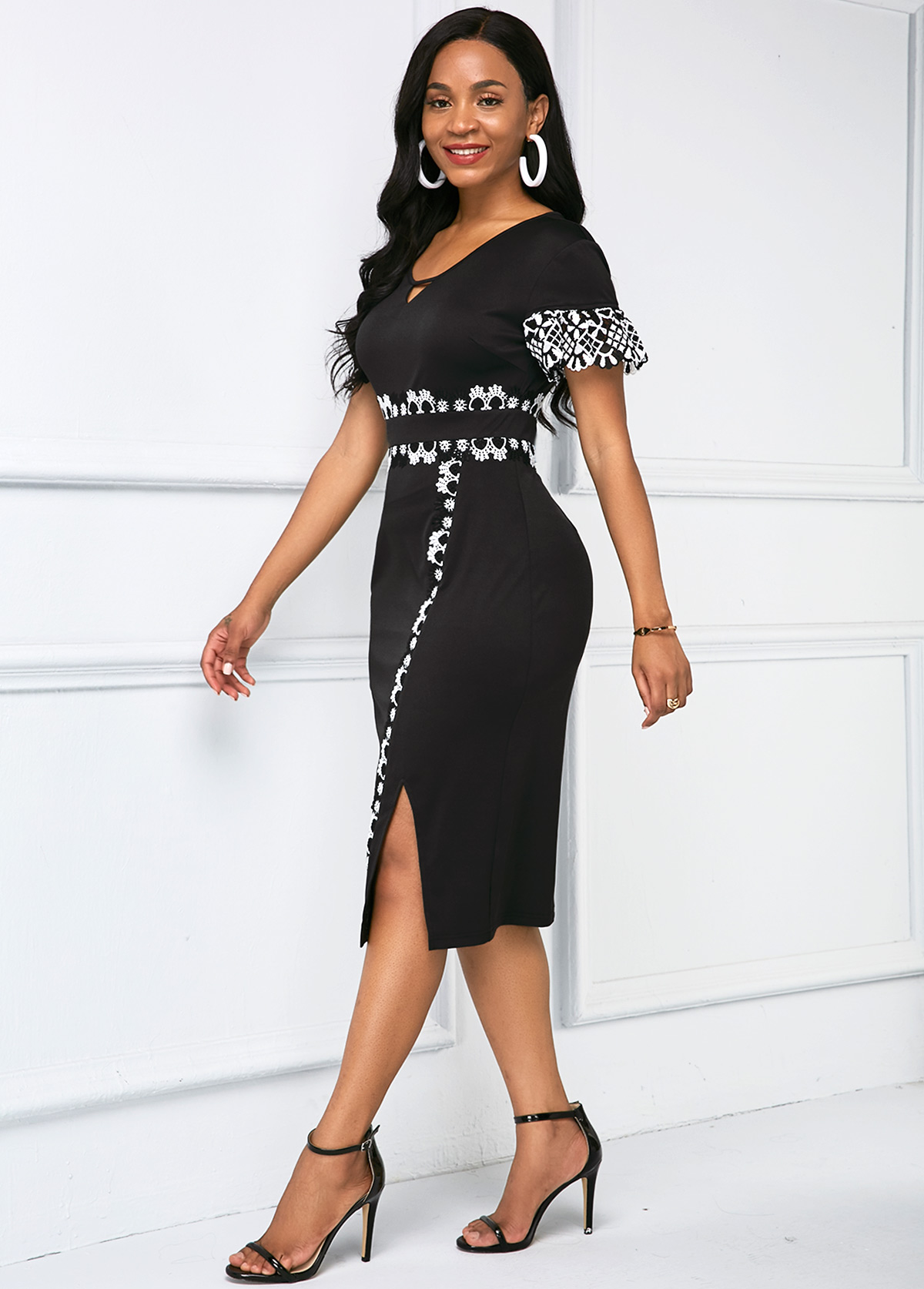 Short Sleeve Lace Panel Side Slit Dress