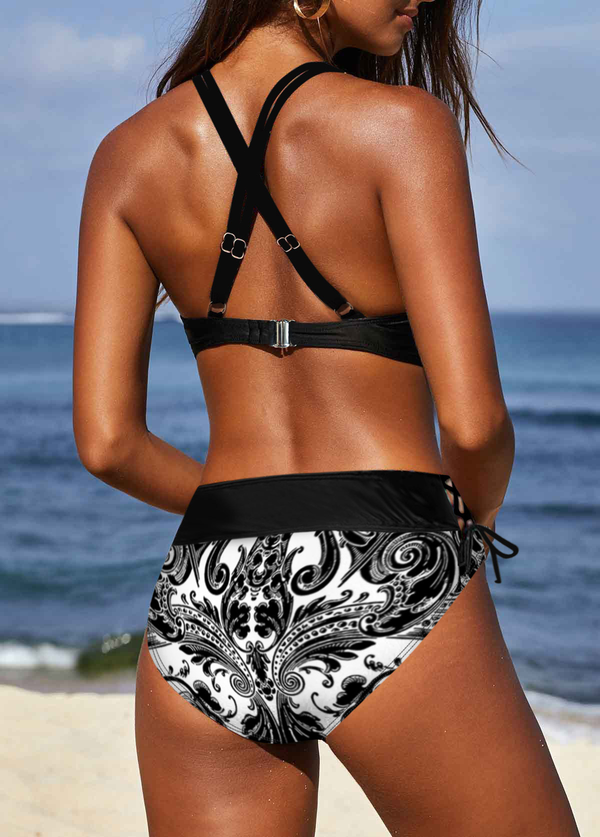 Cross Strap Tribal Print Black Bikini Set