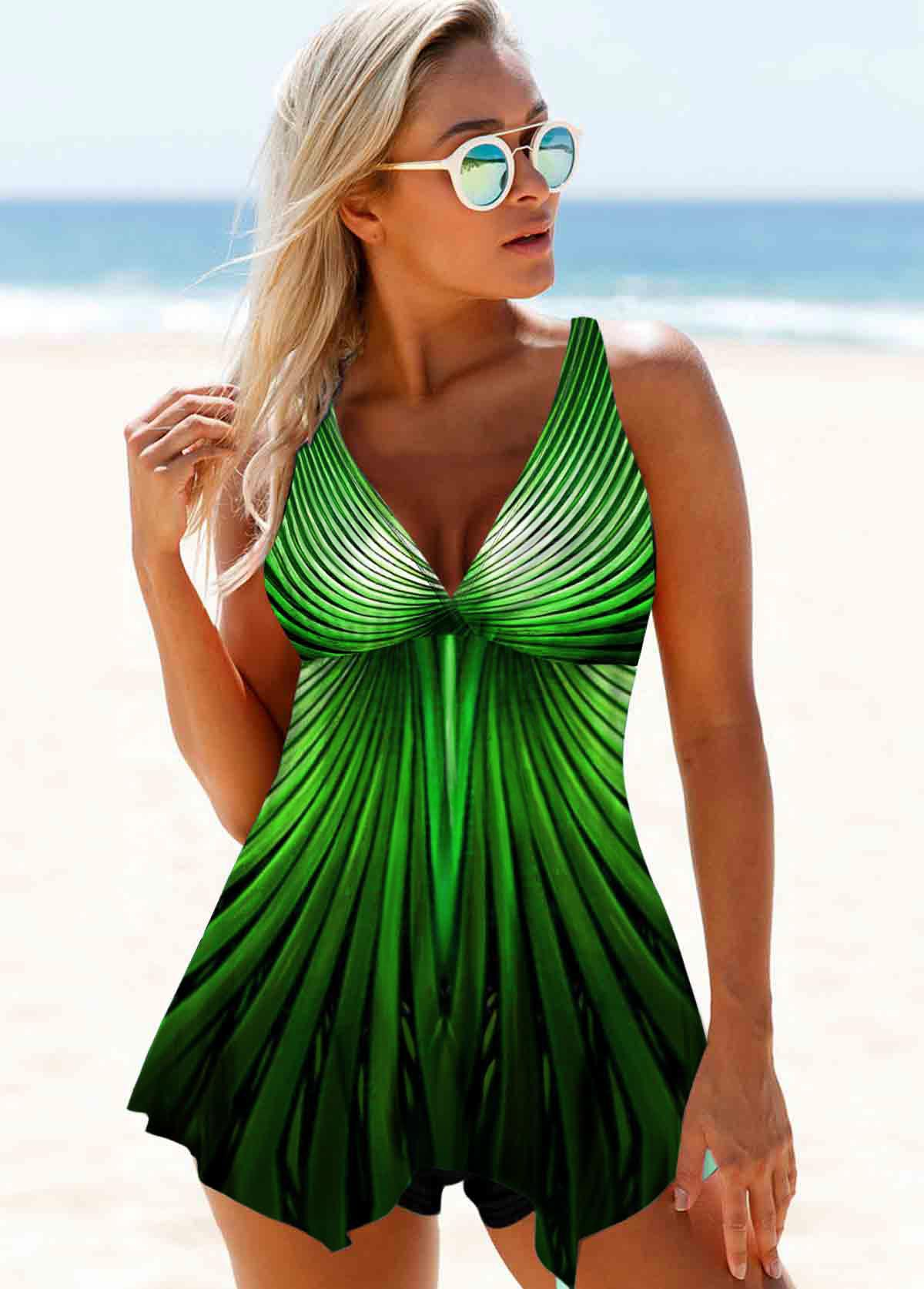 Green Wide Strap Printed Swimdress and Shorts