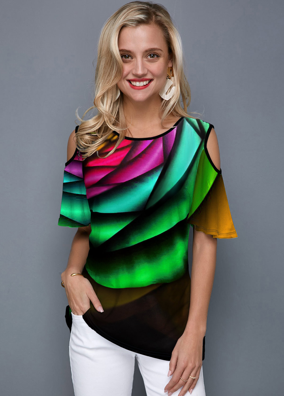 Printed Cold Shoulder Rainbow Color T Shirt