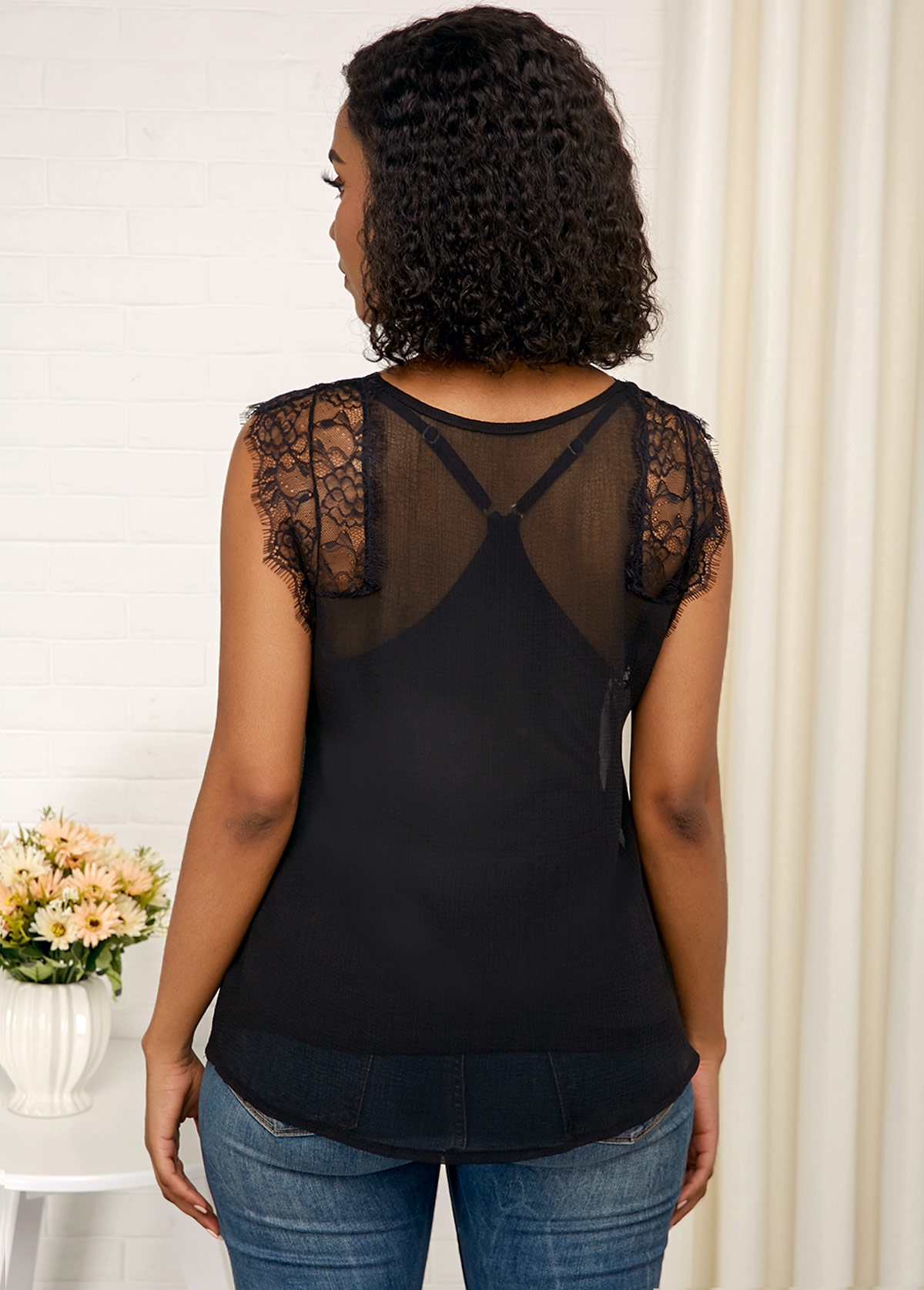 Black V Neck Cap Sleeve Lace Panel Tank Top