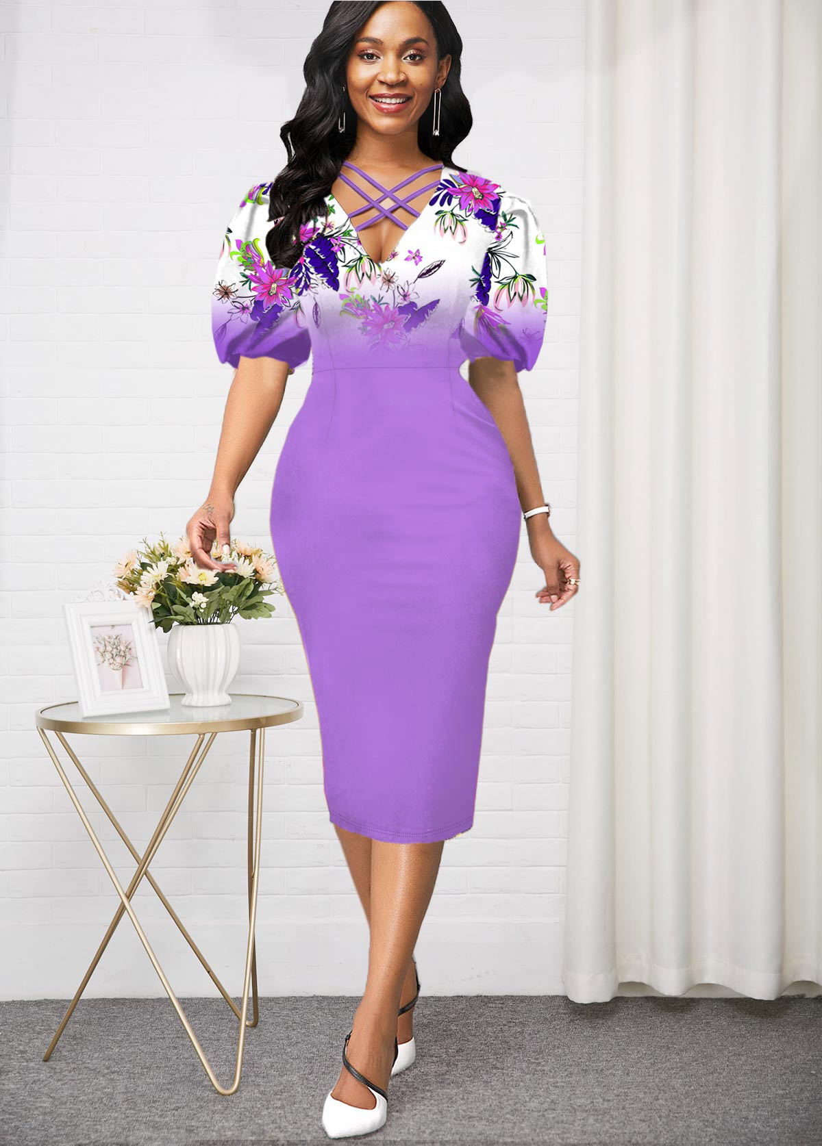 Puff Sleeve High Waist lilac Purple Dress