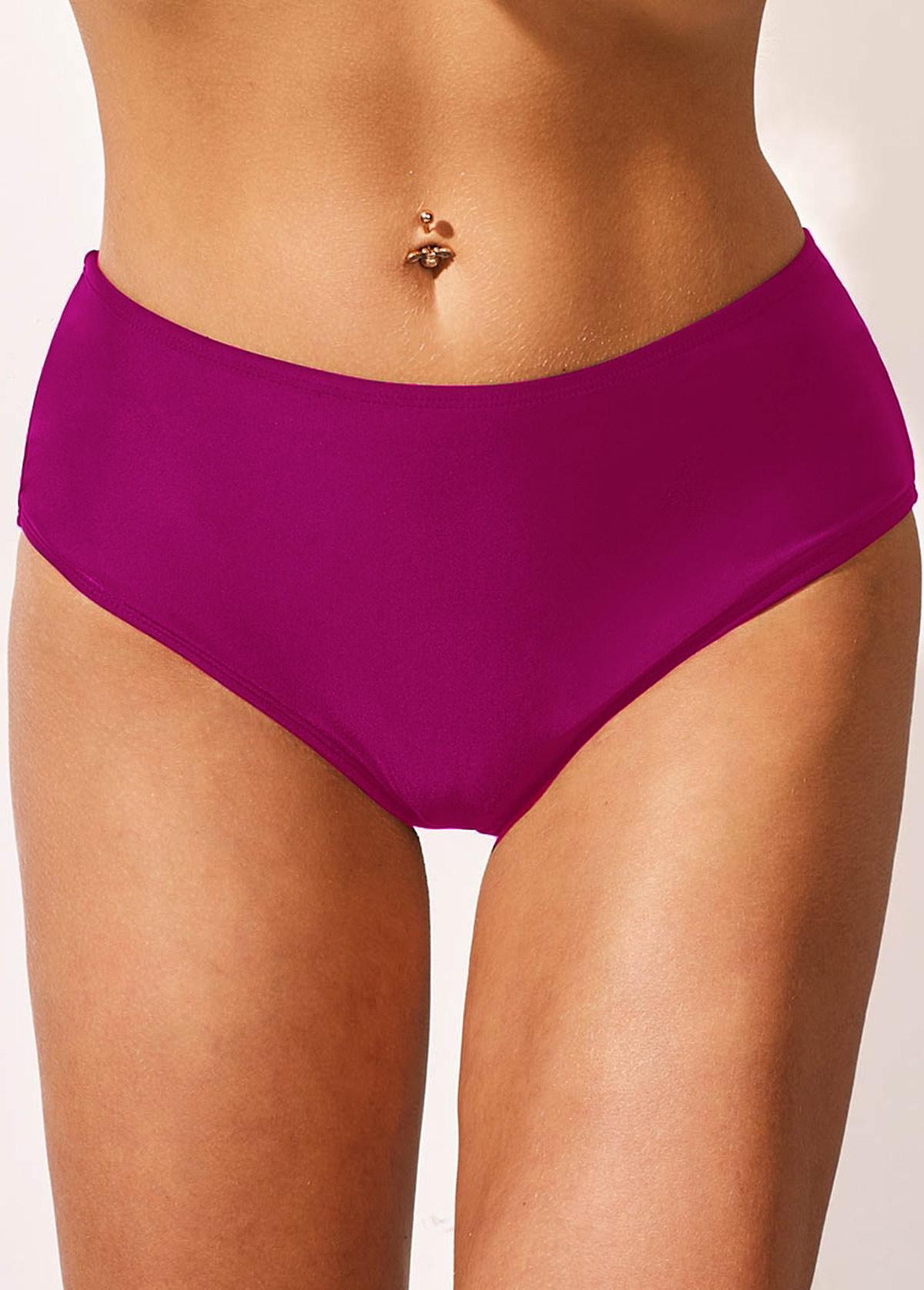 Purple Lace Panel Spaghetti Strap Swimdress and Panty