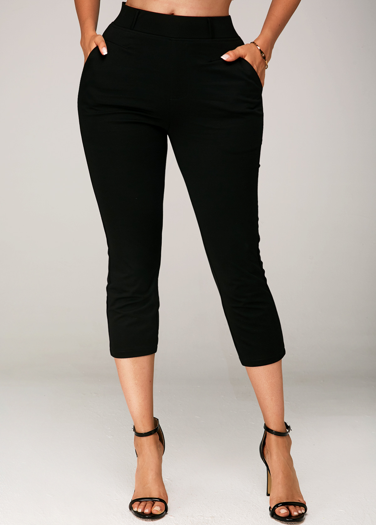 Black Side Pocket Elastic Waist Crop Pants