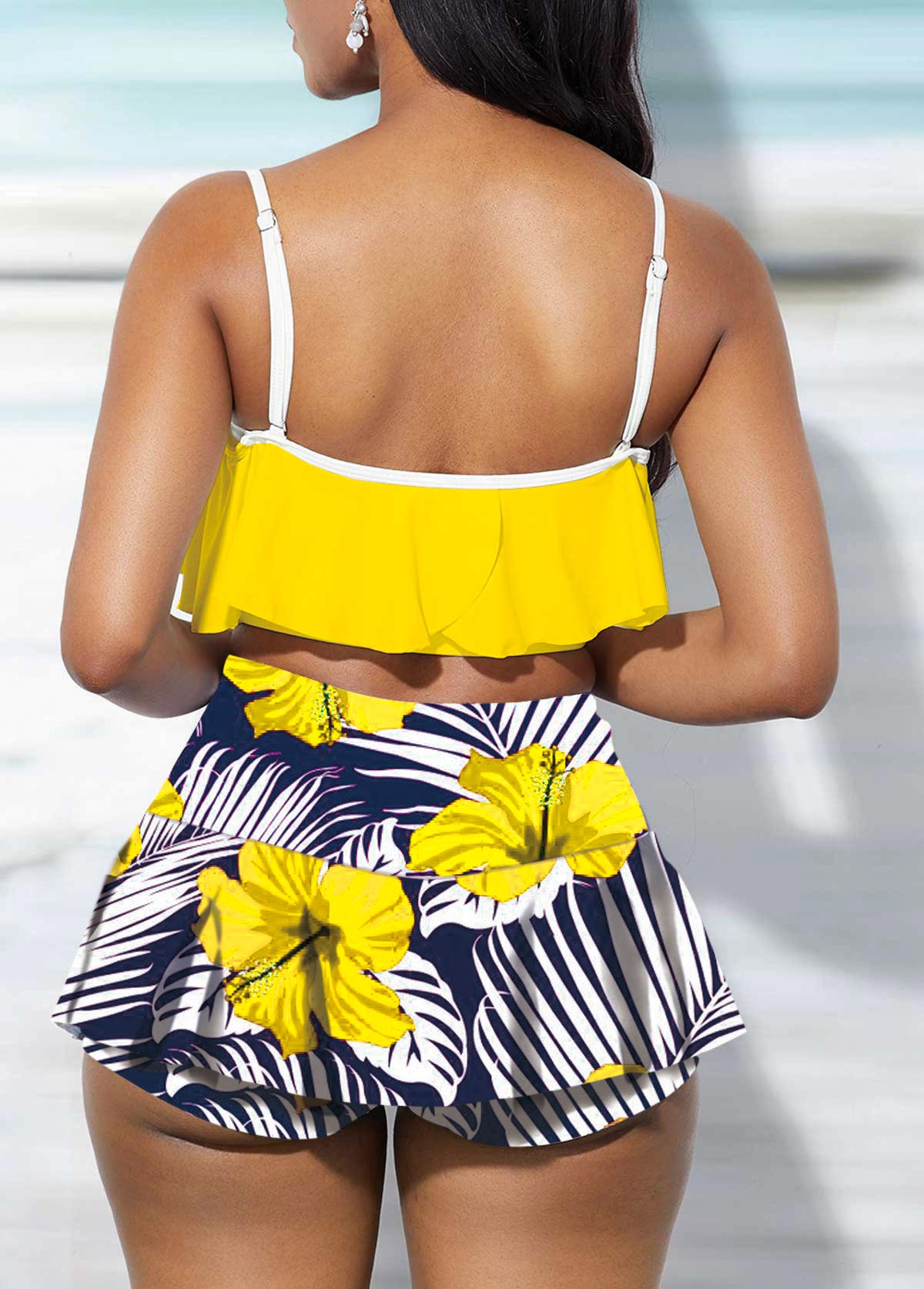 Ruffle Overlay Spaghetti Strap Swimwear Top and Floral Print Pantskirt