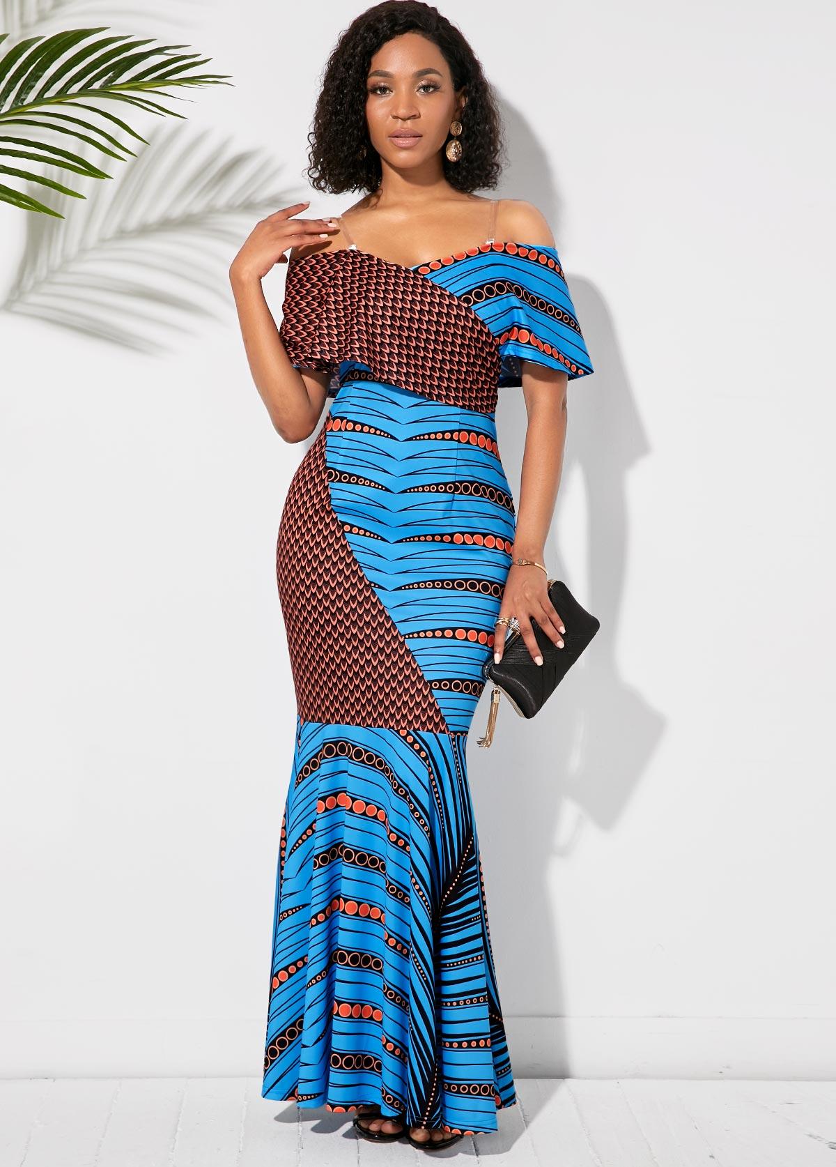 Half Sleeve Off the Shoulder Printed Maxi Dress