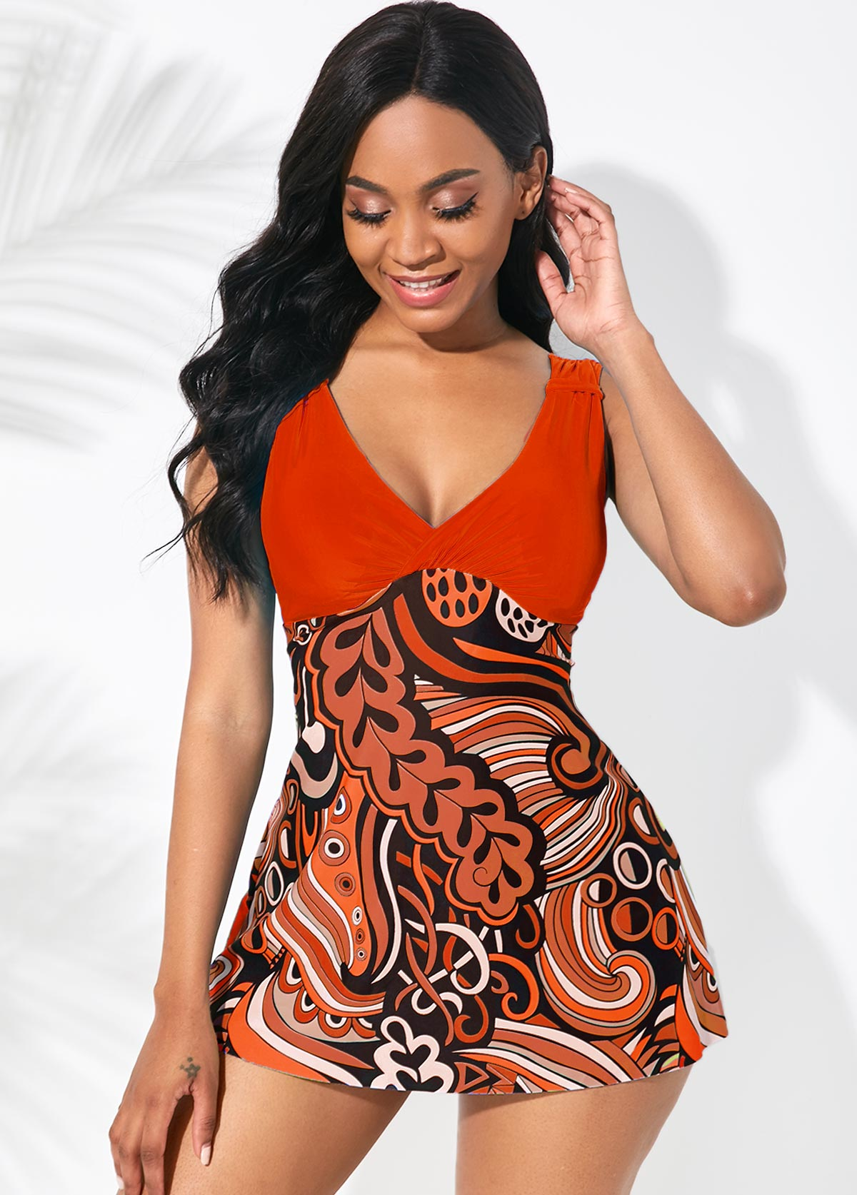 Orange Wide Strap Printed Swimdress and Shorts