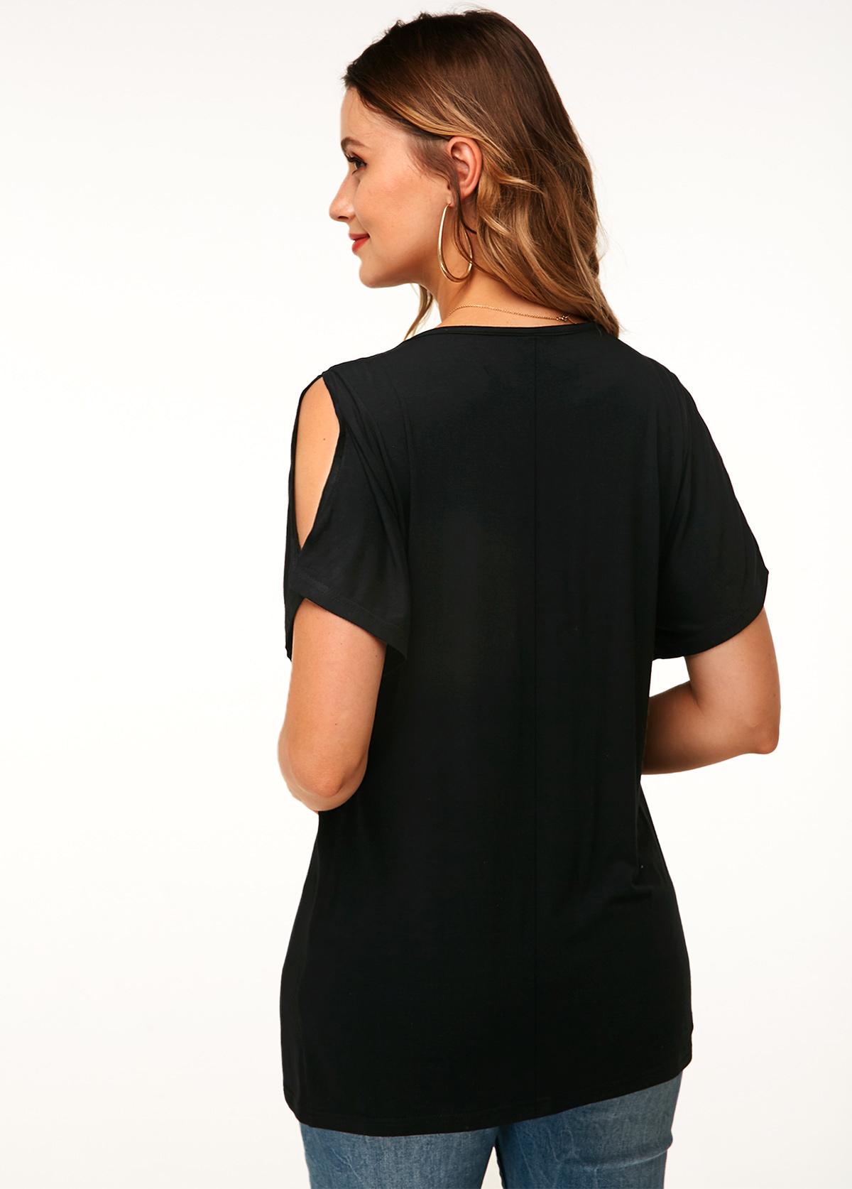 V Neck Casual Black Cold Shoulder T Shirt