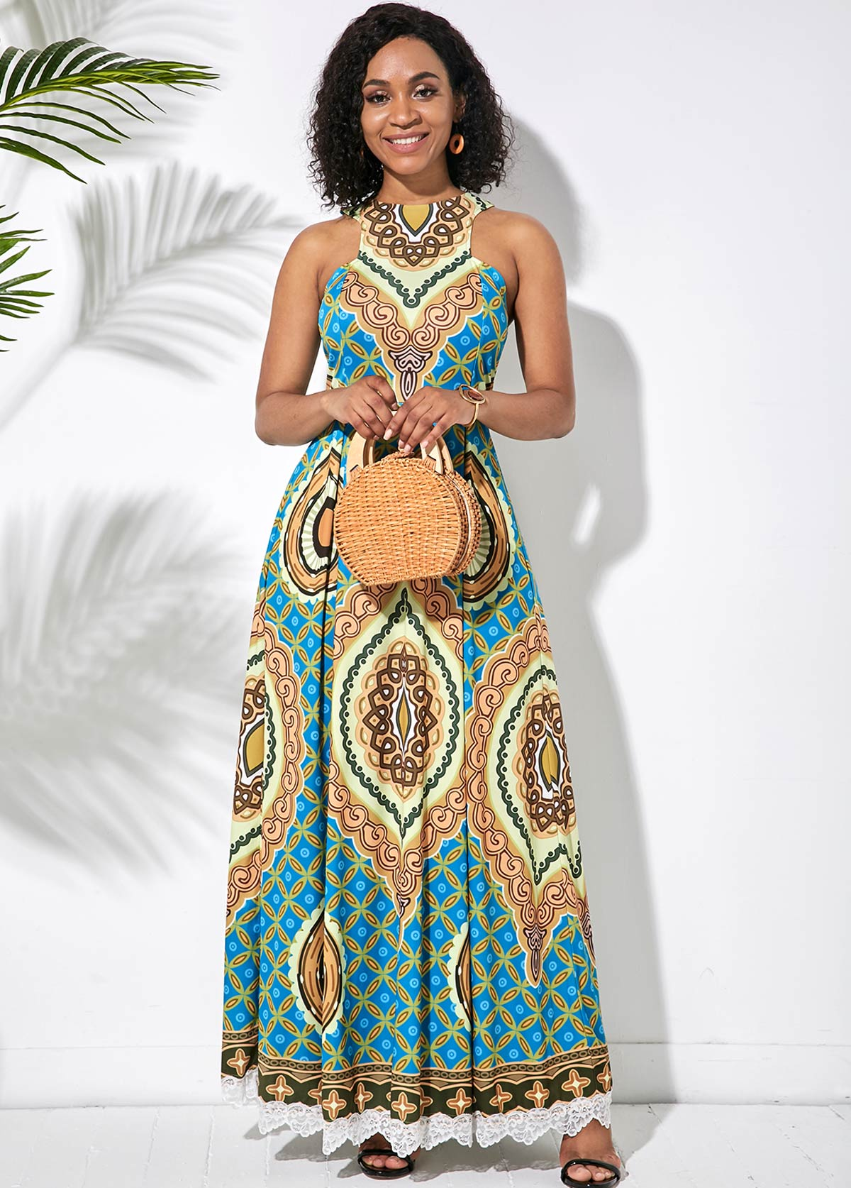 Tribal Print Lace Patchwork Sleeveless Dress