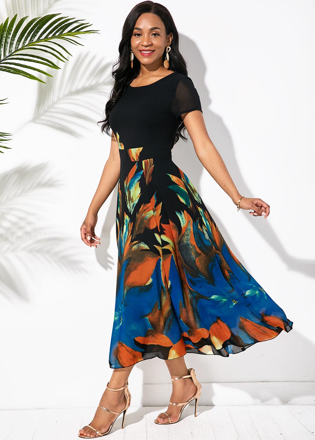 Round Neck Short Sleeve Printed Swing Dress