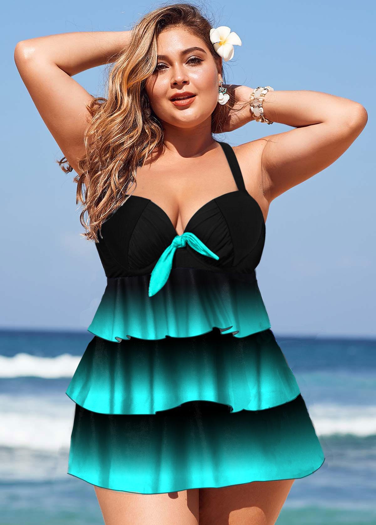 Gradient Plus Size Layered Hem Swimdress and Panty