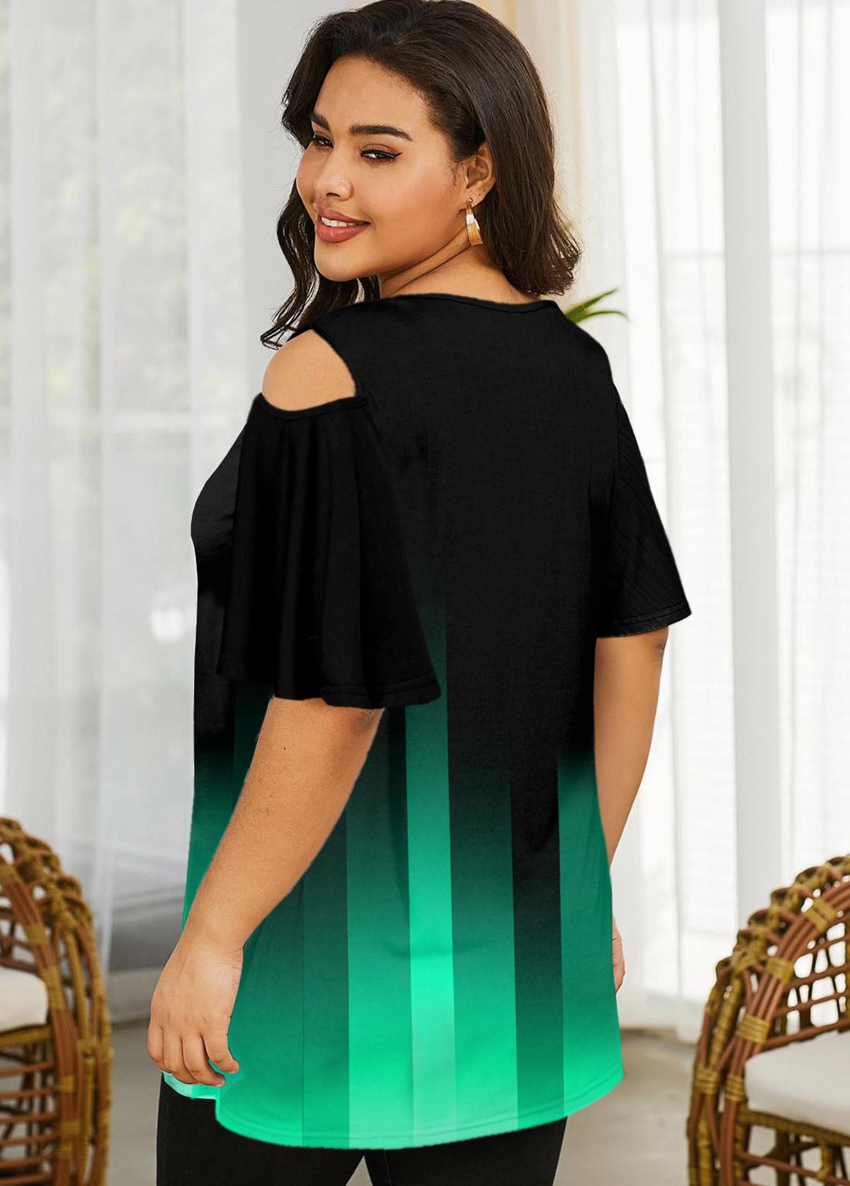 Cold Shoulder Gradient Plus Size T Shirt