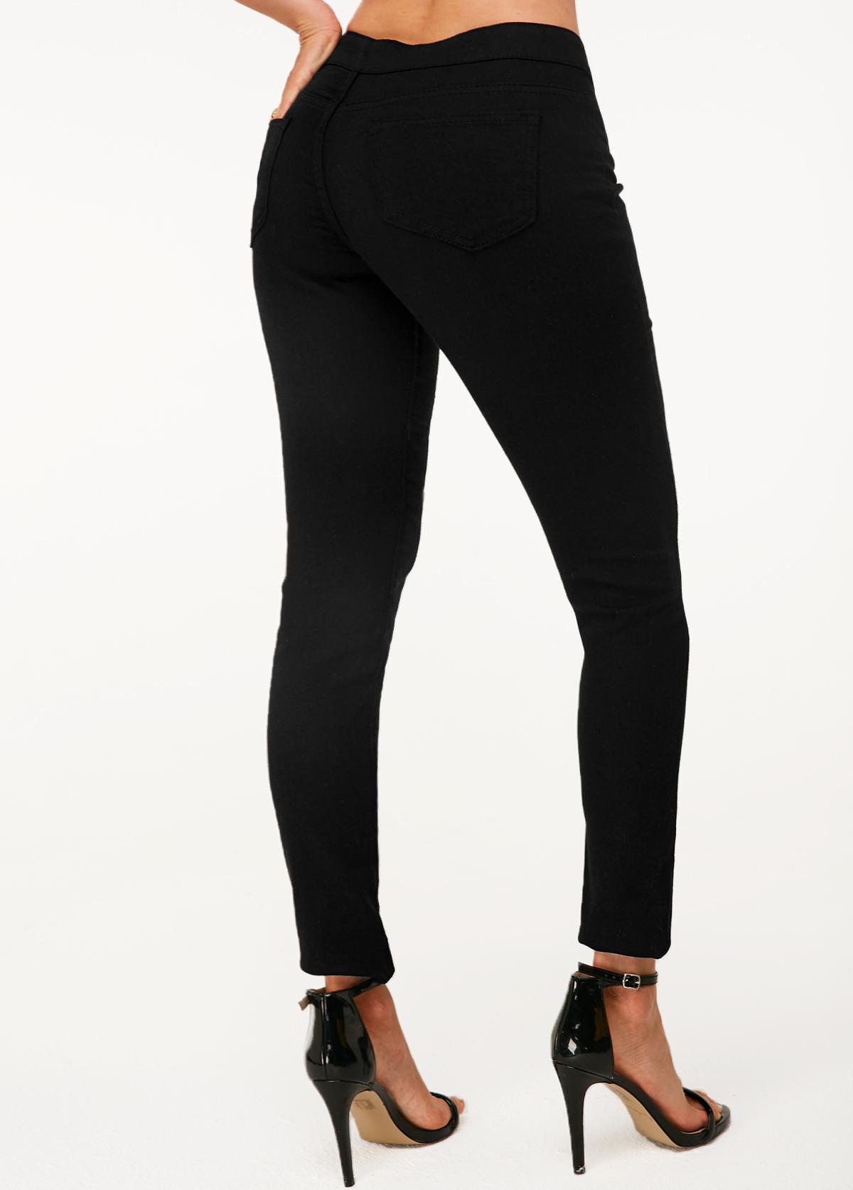 Black High Waist Shredded Skinny Jeans