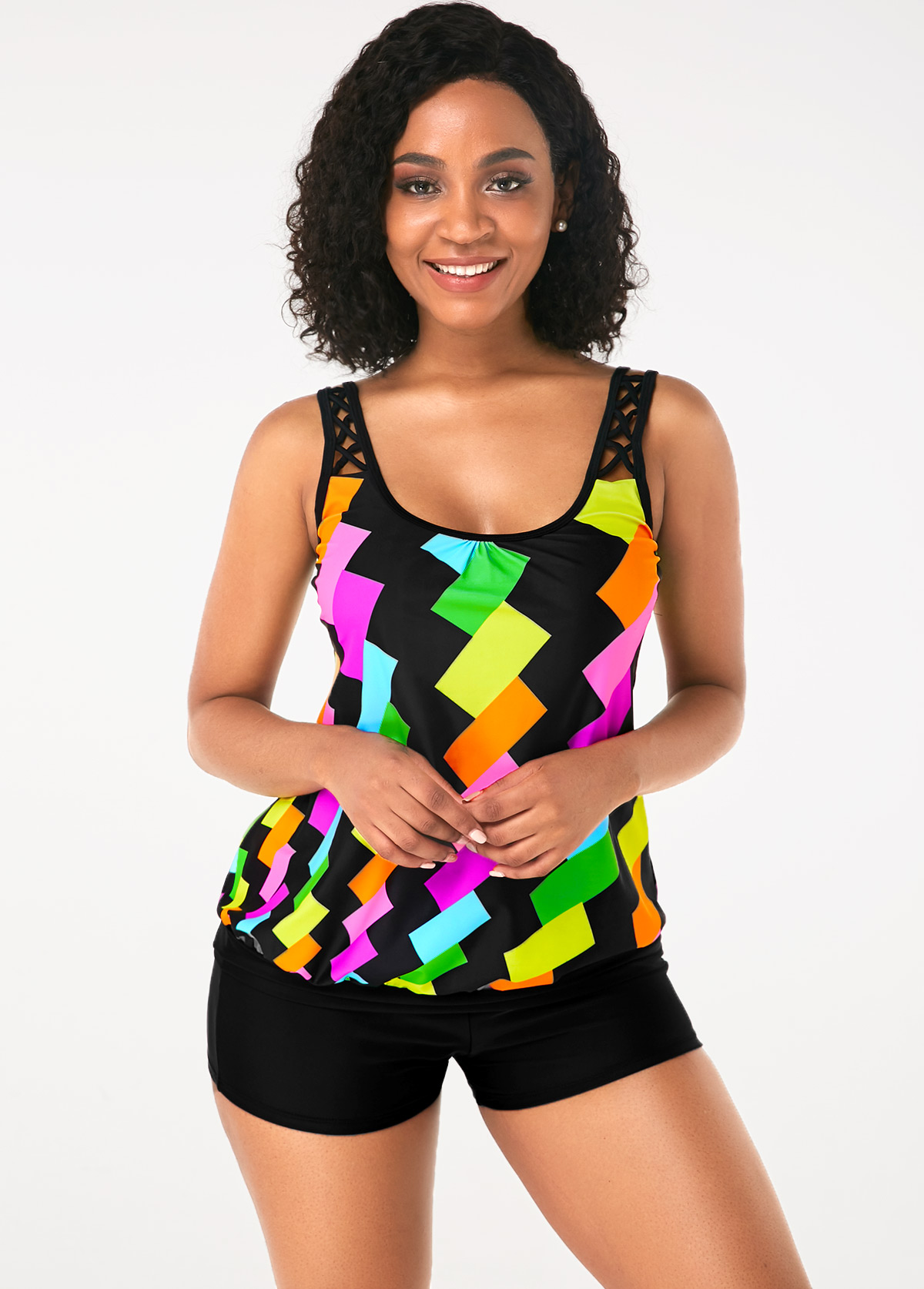 Double Strap Geometric Print Rainbow Color Tankini Set