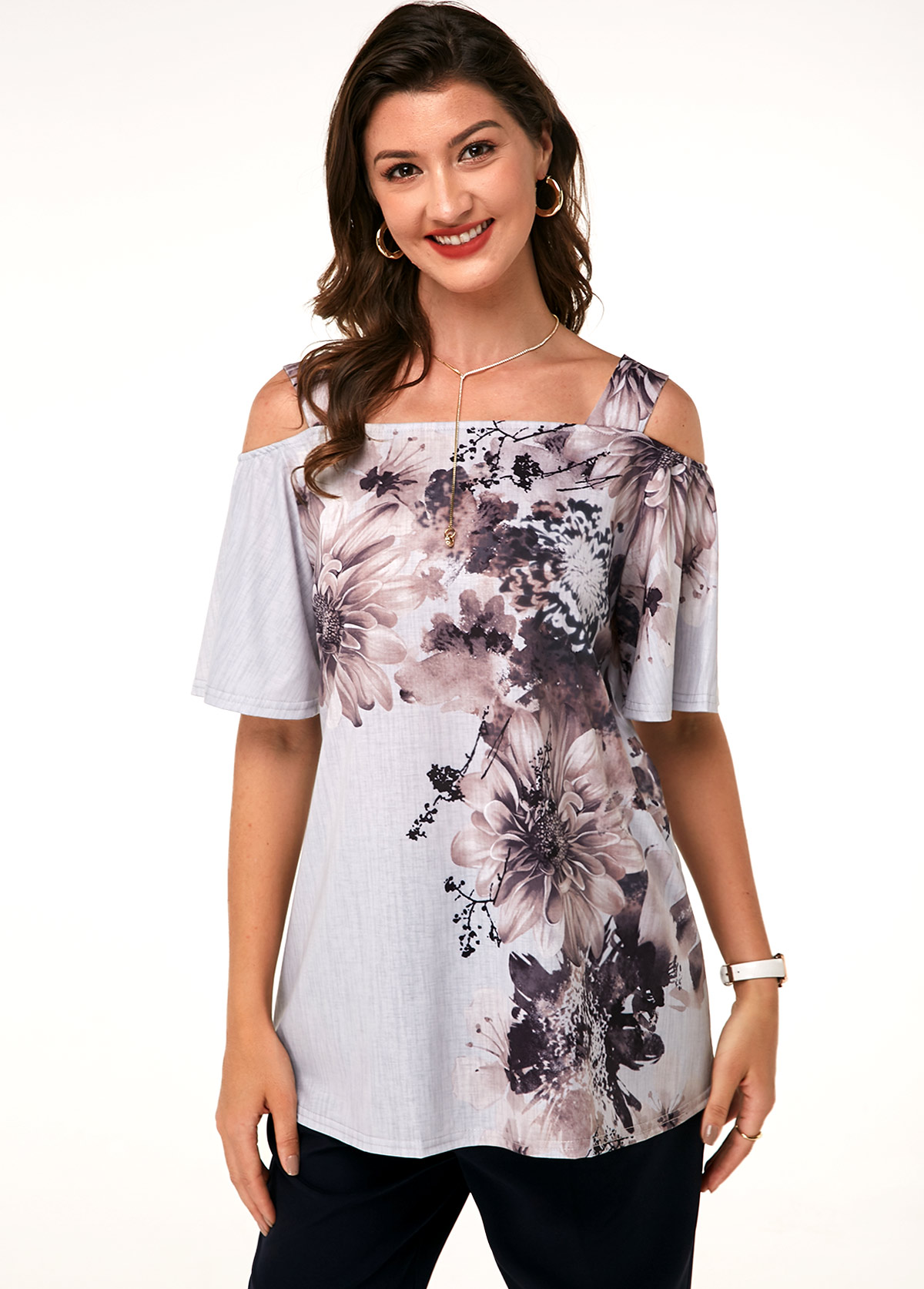 Printed Strappy Cold Shoulder T Shirt