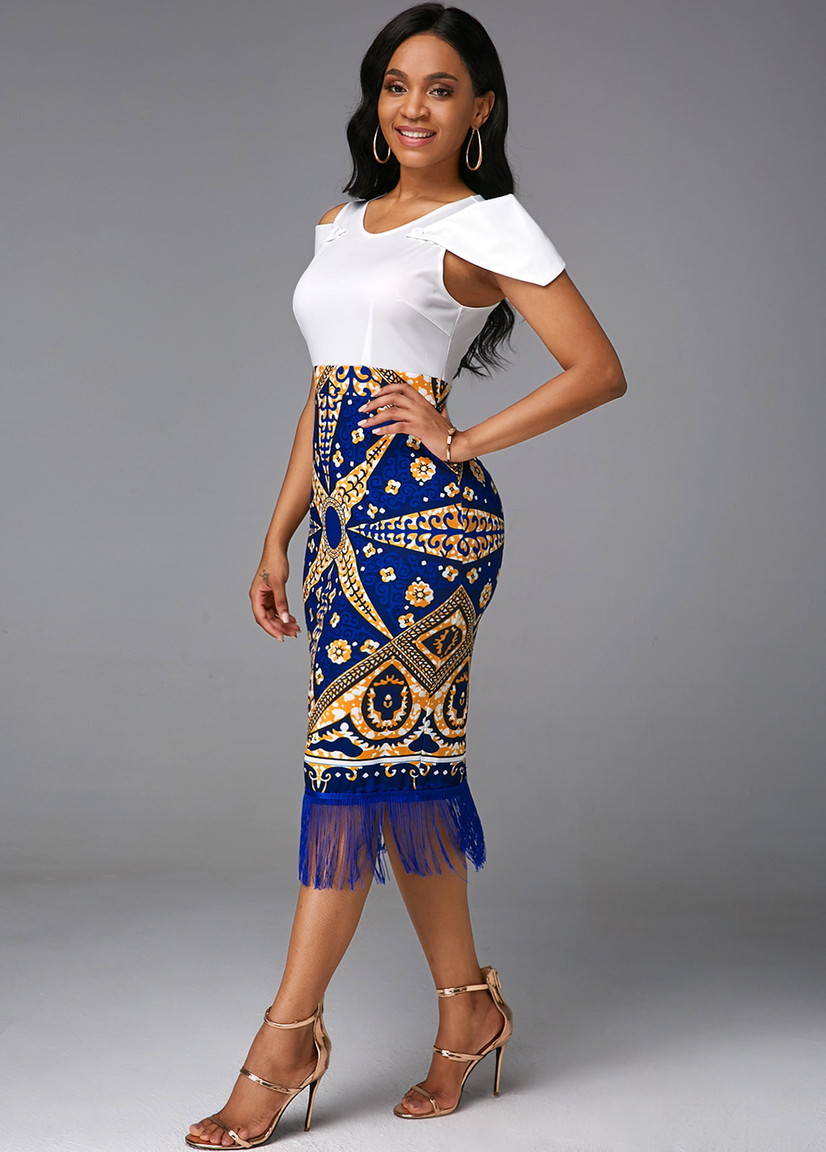 Tribal Print Round Neck Tassel Cold Shoulder Dress