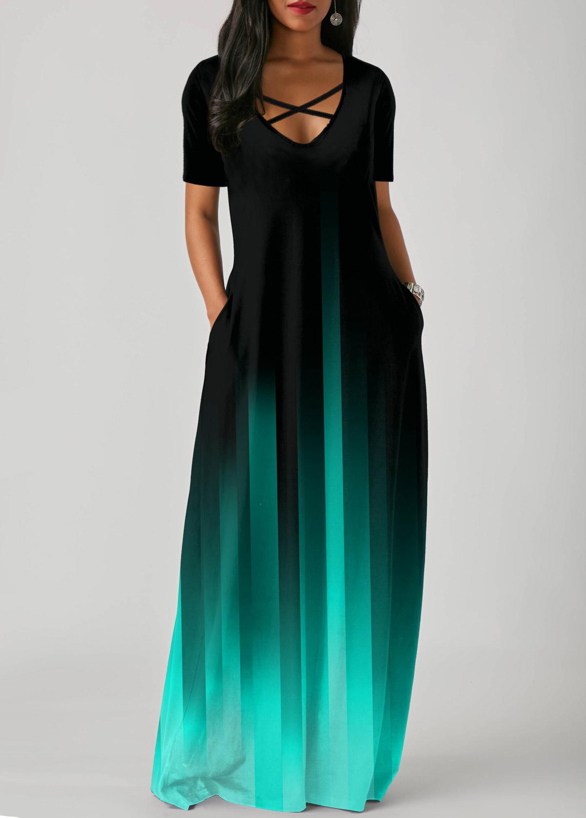 Side Pocket Short Sleeve Mint Green Gradient Maxi Dress