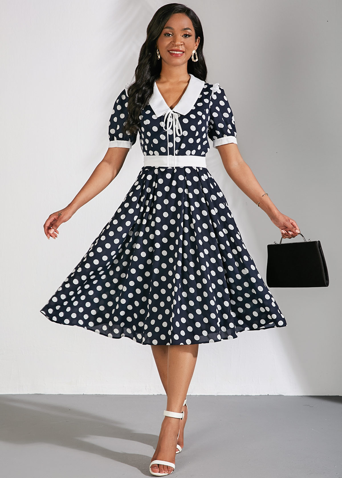 Flat Collar Short Sleeve Polka Dots Dress