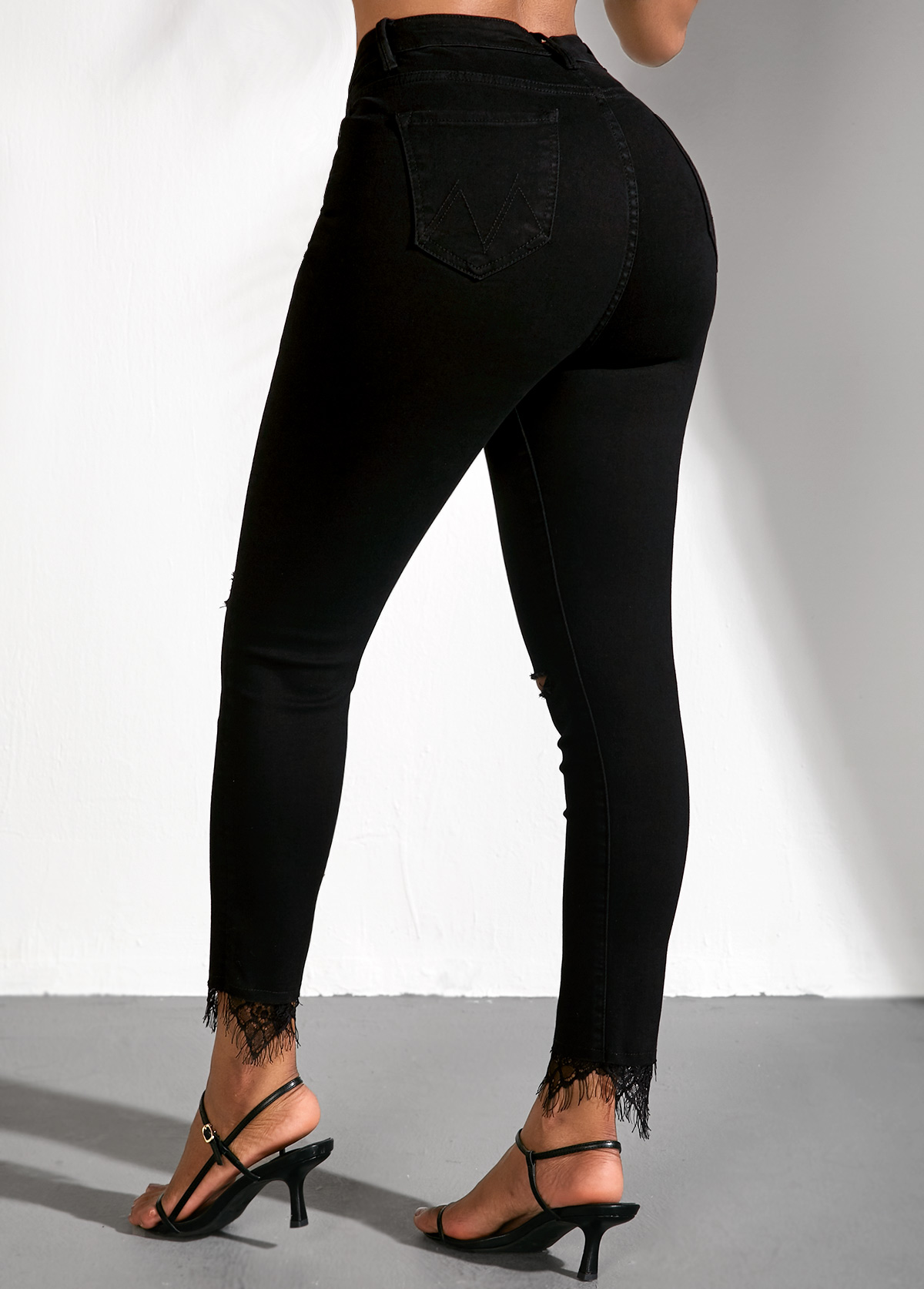 Lace Panel Black High Waist Shredded Jeans