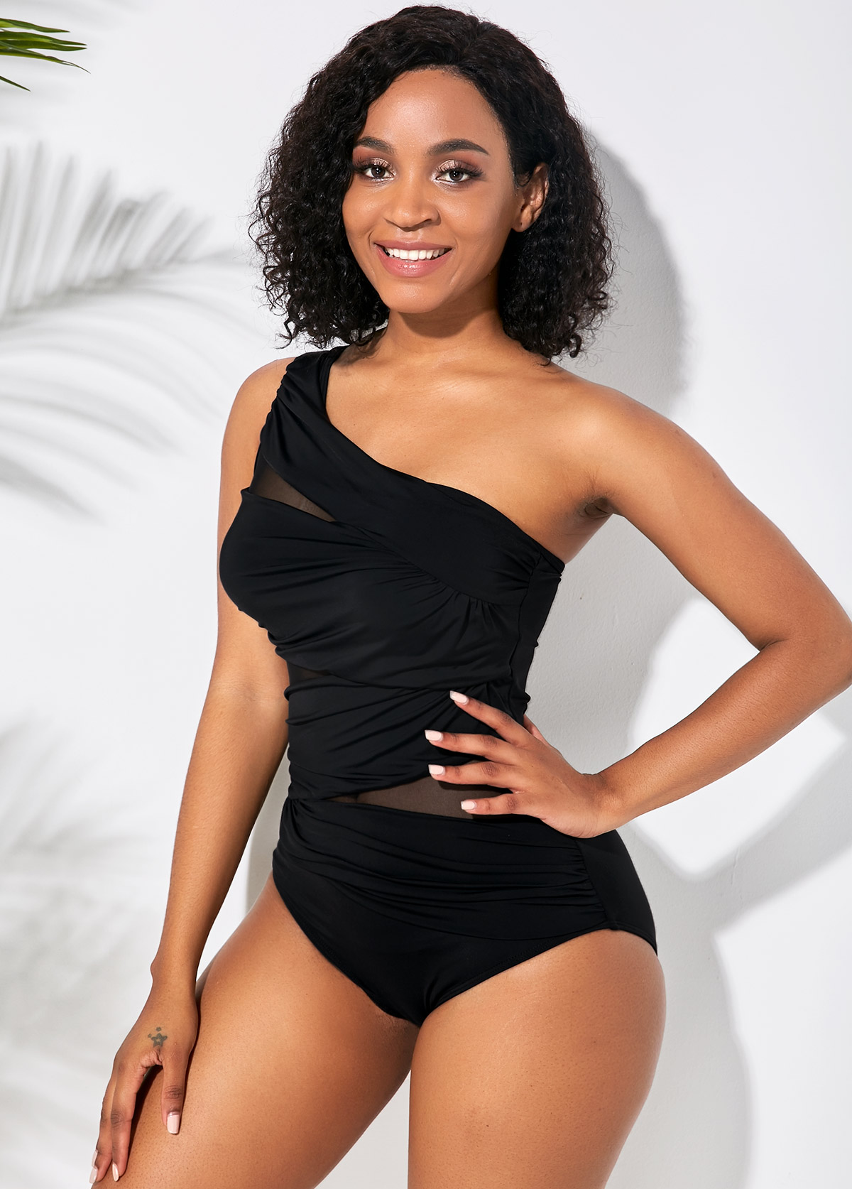 Black Sheer Mesh One Shoulder One Piece Swimwear