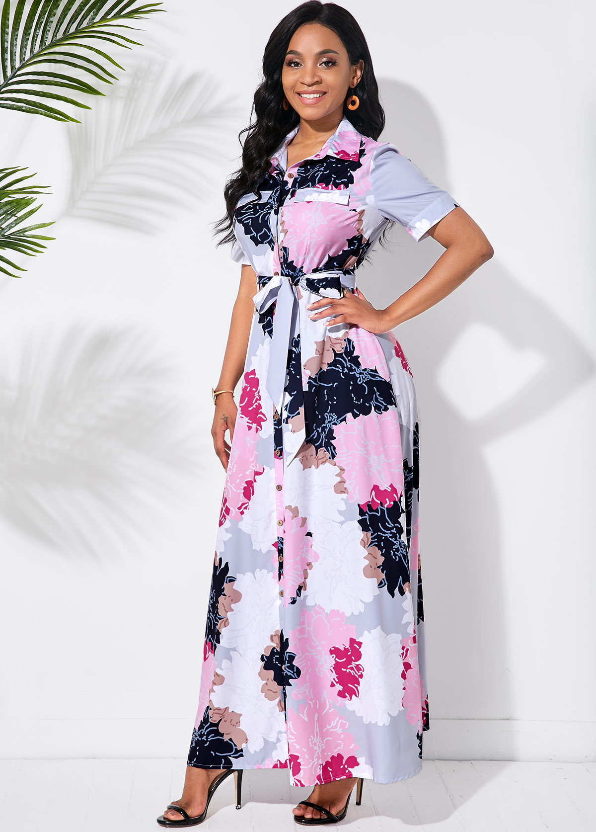 Multi Color Bowknot Sash Blossom Print Dress
