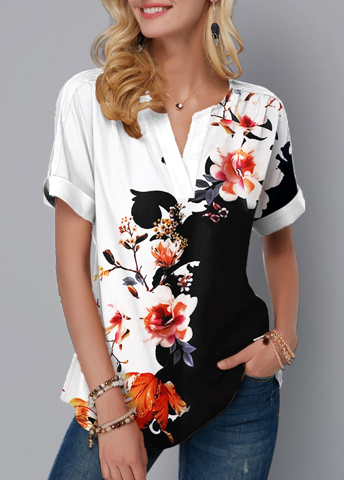 Short Sleeve Floral Print Split Neck Blouse