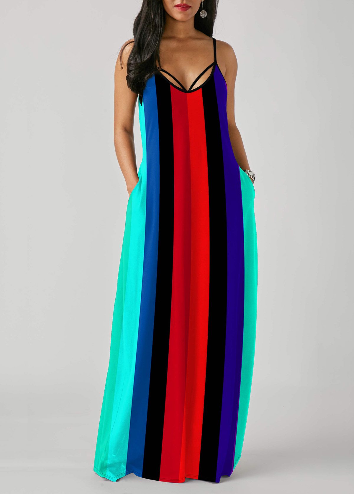 Multi Color Rainbow Stripe Print Spaghetti Strap Dress
