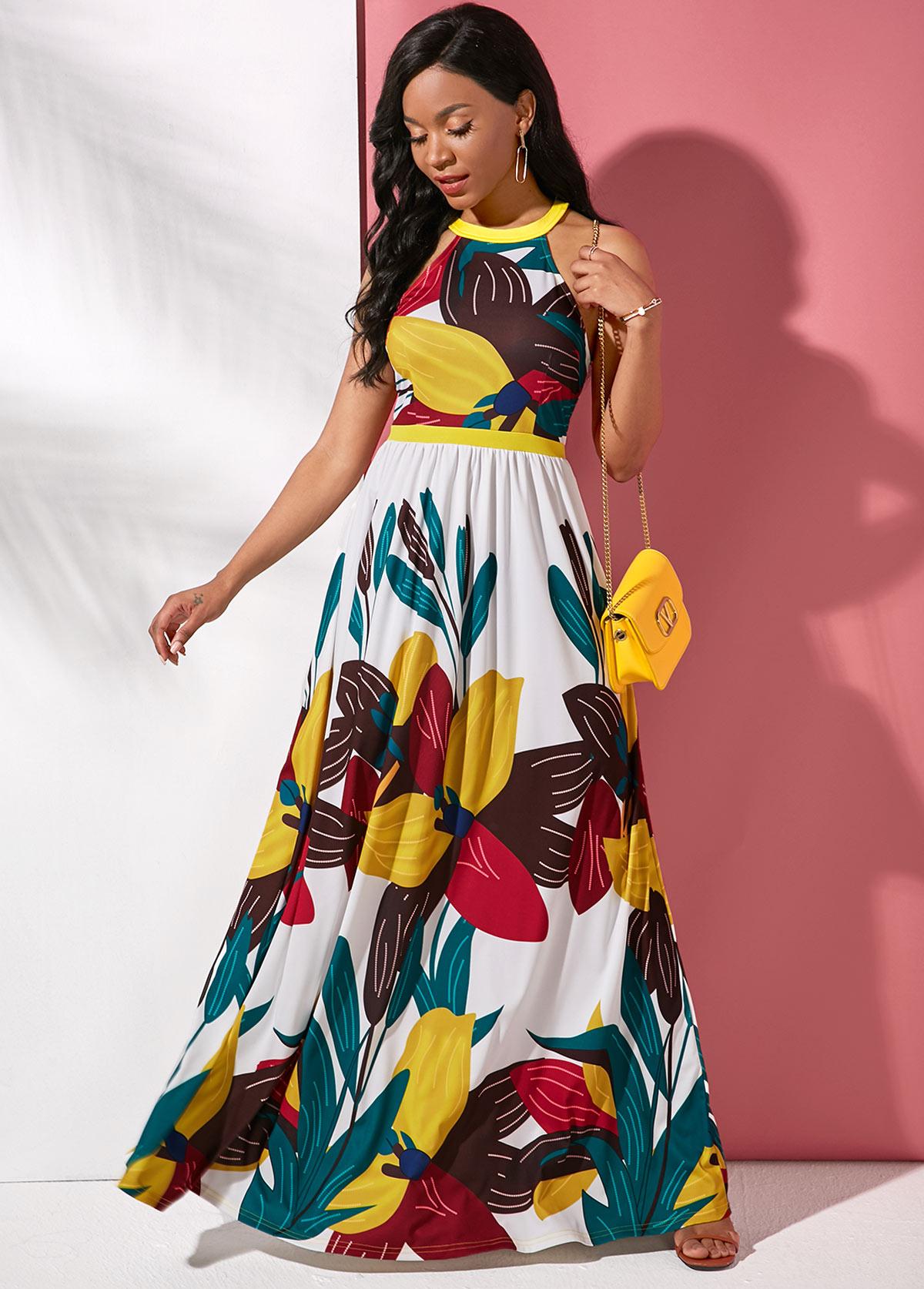 Sleeveless Maxi Large Floral Print Dress