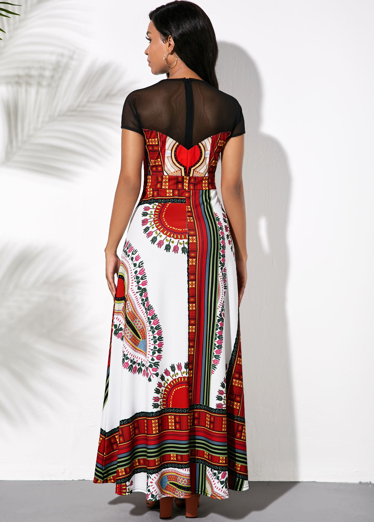 Short Sleeve Maxi Tribal Print Dress