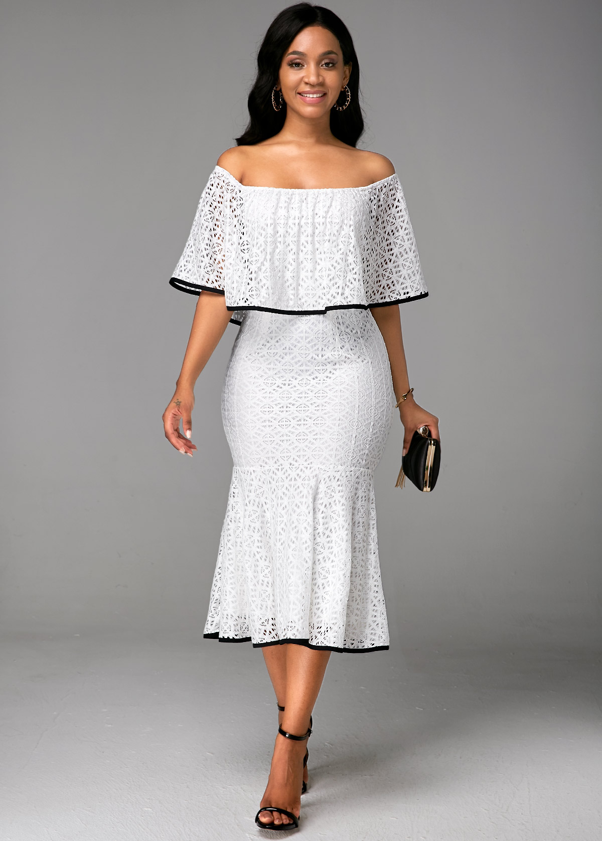 Boat Neck Ruffle Overlay White Lace Dress